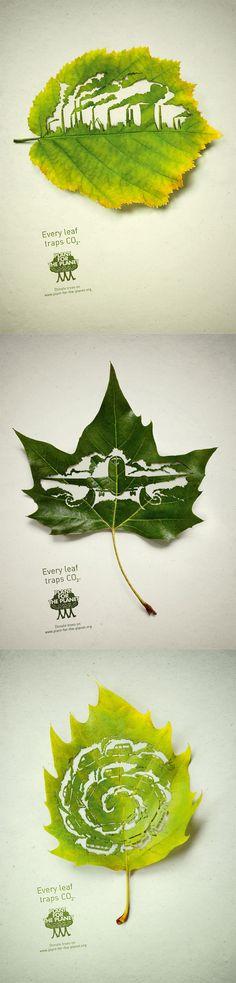 "Plant for the Planet / Plakatkampagne ""Blätter"" / Leagas Delaney"