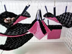 PINK GIANT  6pc Sugar Glider-Rat Hanging FLUFFY Cage Set  warm soft washable on Etsy, $29.90