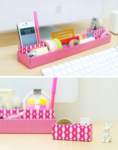 Diy desk organization cardboard organizers ideas for 2019 - Art Design Cardboard Organizer, Diy Organizer, Desk Organization Diy, Diy Desk, Diy Storage, Drawer Storage, Cardboard Boxes, Storage Ideas, Getting Organized