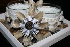 Deko-Objekte - Tischdeko: Tablett mit 2 Gläsern und 2 Blüten - ein Designerstück von Angelas_Kreativwelt bei DaWanda