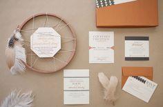bohemian wedding invitations - copper willow paper studio