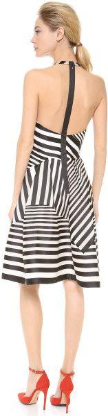 J. Mendel Halter Neck Full Skirted Dress in Black (Nautique) - Lyst