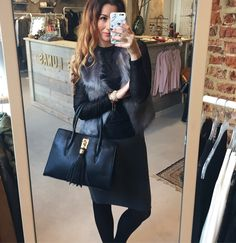 | outfit from today 📸 | Grey skirt, black lace top and fake fur gilet ✔ And check this BEAUTIFUL BAG ❥❥❥ ~✘✘✘~ syl  #outfit #today #grey #skirt #silvianheach #lace #top #pep #fakefur #katherinaloretta #bag #laslunas #fashionista #styling #stylist #fashionblogger #blogger #boutique #laslunas #krommestraat20 #033 #amersfoort #leukstestraatjevanamersfoort