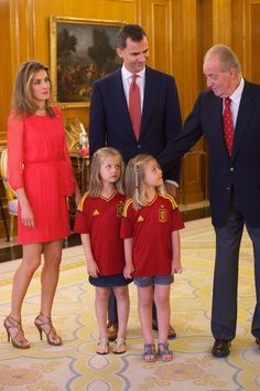 Prince Felipe of Spain, Princess Letizia of Spain, Princess Sofia of Spain, Princess Leonor of Spain and King Juan Carlos of Spain walk out to receive members of Spain's victorious UEFA EURO 2012 football squad at Zarzuela Palace on July 2, 2012 in Madrid, Spain.