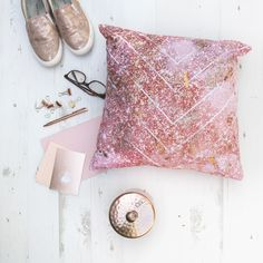Luxury rose gold home accessories, handmade high quality cushion with rose gold and copper foiling by emodi.co.uk