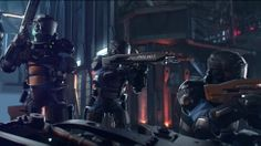 A closeup of the law enforcement from the Cyberpunk 2077 trailer, exhibiting the kind of equipment they rely on.