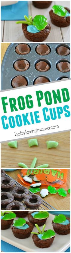 Frog Pond Chocolate Cookie Cups: See how easy it is to make these kid friendly frog treats, perfect for your next nature or frog themed birthday party, Earth Day or spring celebration!