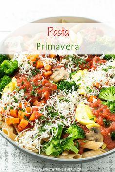 Pasta primavera marinara sauces 61 ideas for 2019 Healthy Pasta Recipes, Healthy Pastas, Entree Recipes, Vegetarian Recipes, Delicious Recipes, Vegetarian Dinners, Healthy Dinners, Amazing Recipes, Veggie Recipes