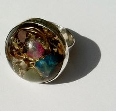 wearable round Energy Ring Silver & Resin orgonite gold by UFOco, £60.00