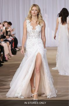 Free shipping and returns on Ines Di Santo 'Morning' Layered Lace & Organza Front Slit Gown (In Stores Only) at Nordstrom.com. This wedding gown can't be purchased online but is available for special order in our in-store Wedding Suites. Please call 1.888.300.1295 to find one near you or Book an appointment online.Richly embroidered lace and ethereal silk organza combine on a gorgeous wedding dress with plenty of modern allure from a scalloped décolleté neckline, an illusion back and a…