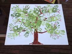 Class art project. Great for end of the year or for an auction piece. Very easy to do. Have kids do handprints and then paint the trunk and branches in to form a tree.