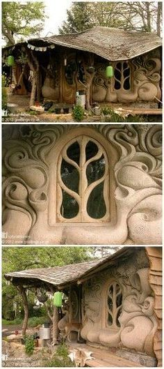 Cob Houses - beautiful, artistic houses built from clay mud and straw. WANT TO DO 3D DESIGNS/SCULPTED DECOR FOR OUTSIDE OF HOME, AND THE DETAIL OVER THE WINDOW IS GREAT AND ADDS TO THE WHIMSICAL EFFECT.