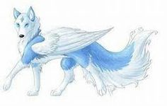 Light blue Anime Wolf with Wings