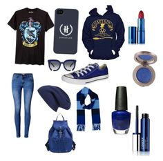 """""""Ravenclaw"""" by speldewinde-elizabeth on Polyvore featuring Bioworld, WithChic, Converse, Prada, Burberry, Halogen, Grey Ant, OPI, Clinique and Lipstick Queen"""