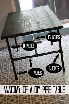 Pipe Table Tutorial LOVE IT! DIY Pipe Industrial Table--full tutorial by Designer Trapped in a Lawyer's Body.LOVE IT! DIY Pipe Industrial Table--full tutorial by Designer Trapped in a Lawyer's Body. Furniture Projects, Home Projects, Furniture Stores, Bar Furniture, Furniture Outlet, Discount Furniture, Kitchen Furniture, Furniture Market, Furniture Design