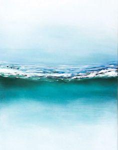 Abstract Beach Ocean painting Seascape Waves by NiksPaintGallery