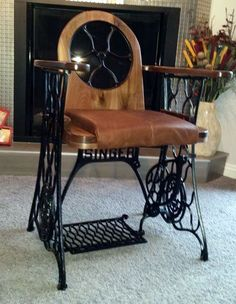 metal furniture Old Treadle Sewing Machine Converted Into Singer Chair Recycled Furniture Recycling Metal Vintage Industrial Furniture, Metal Furniture, Repurposed Furniture, Furniture Projects, Cool Furniture, Furniture Online, Antique Furniture, Automotive Furniture, Automotive Decor