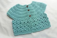6  12 months Crochet Baby Cardigan Blue teal by AngieMade on Etsy, $34.00