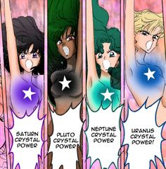 Outer Senshi Crystal Power Make Up from the Manga. Sailor Moon Manga, Sailor Neptune, Sailor Uranus, Sailor Moon Art, Sailor Moon Crystal, Sailor Mars, Power Manga, Princess Serenity, Sailor Mercury