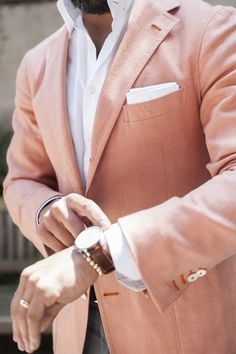 Men's Fashion | Menswear | Peach Sport Coat, White Shirt | Men's Outfit for Spring/Summer | Moda Masculina | Shop at designerclothingfans.com