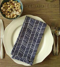 "Blue Chevron Cloth Dinner Napkins 19.5"" square-- set of 4. $32.00, via Etsy."