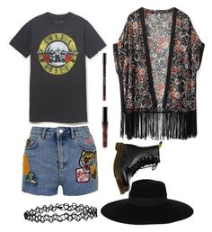 """Coachella #3"" by acidic-alien on Polyvore featuring WithChic, Topshop, Accessorize, Maison Michel, Dr. Martens, dream, coachella and gunsnroses"