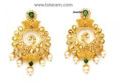 22K Gold Uncut Diamond Hoop Earrings with Emeralds & Japanese Culture pearls: Totaram Jewelers: Buy Indian Gold jewelry & 18K Diamond jewelry