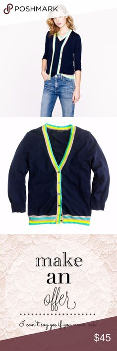 J. CREW Lightweight Merino Cardigan Neon Trim $98 J. CREW Lightweight Merino Cardigan Neon Trim Sz M  Presenting a downright electric reboot of the iconically preppy tipped V-neck cardigan, with a slightly cropped length and serious pops of neon. Our design team searched high and low for the neon yarn (they found it in Italy, of course), which has a slightly different texture that allows it to really soak up the bright color.  True to size. Merino wool in a 16-gauge knit. Hits at hip…