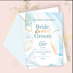 A dreamy beach wedding collection. With soft blues and gold shades. Edit the sample text with your own wedding details in Microsoft word