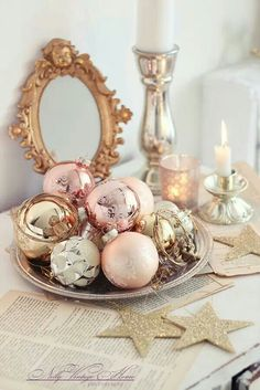 pink and gold christmas decorations - Christmas Home Decorations