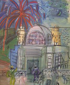 Raoul Dufy—  Feu d'artifice á Nice, le casino de la jetée promenade / 1947. (Via Infamous Orange Moon.)