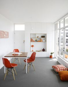 Loving the red accents :-) Vitra DSW Side Chairs http://www.nest.co.uk/search/vitra-dsw-eames-plastic-side-chair  FlowerPot VP3 Table Lamp http://www.nest.co.uk/browse/brand/andtradition/tradition-flowerpot-vp3-table-lamp