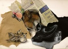 collage mixed media still life