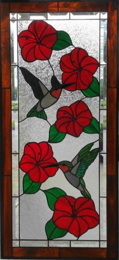 Stained Glass Hummingbird and hibiscus Stained Glass Quilt, Stained Glass Flowers, Faux Stained Glass, Stained Glass Designs, Stained Glass Panels, Stained Glass Projects, Stained Glass Patterns, Leaded Glass, Mosaic Art