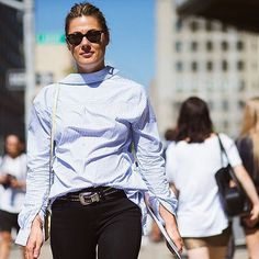 #Fashion editor @nataliehartleywears adds rock'n'roll touches to her pinstripe shirt with a studded belt, and timeless @rayban wayfarers. #Fashionweek #streetstyle by @theurbanspotter