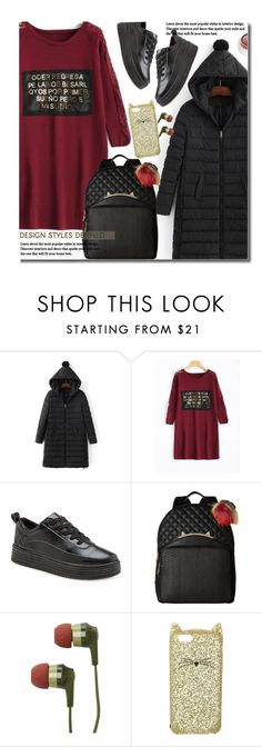 """""""Casual"""" by beebeely-look ❤ liked on Polyvore featuring Betsey Johnson, Skullcandy, Kate Spade, rms beauty, casual, casualoutfit, backpacks, puffer and twinkledeals"""