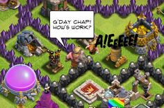 Clash of Clans humor - barbarian king and builder
