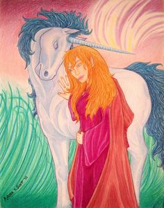 """""""Immortal Companionship"""" by Angela K. Scott. ~Color Pencils.  ---- Art, Illustration, Drawing, Female Elf, Elvish, Cloaked, Unicorn, Horned Horse, Equine, Closeness, Animal, People, Flow, Magical Powers, Magic, Mythical, Mythological Creatures, Mystic, Friends, Friendship, Fanatsy, Companion, New Age, Realism, Realistic."""