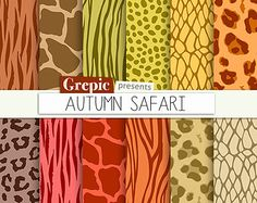 SALE 50% Animal print digital paper: SPRING SAFARI by Grepic