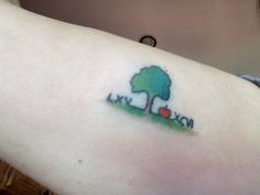 Apple doesn't fall far from the tree tattoo after color added by Skyler Burlton.