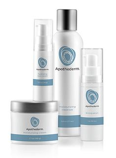 Apothederm Anti-Aging System combines 4 products for anti-aging skin care. Cleanser, Firming Serum, Hydrate Eye Cream and Moisturizing Cream.