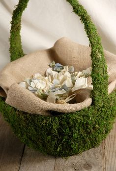 Natural Moss Covered  Basket with Handles (15 x13)  $12.99 each / 3 for $10 each