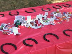 Decorating your own horseshoes - Cowgirl birthday party