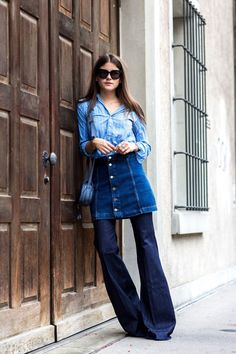 5. Denim Skirt With Flared Pants With Chambray Top 2017 Street Style