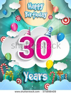 30 Years Birthday Design for greeting cards and poster, with clouds and gift box, balloons. design template for anniversary celebration.
