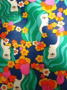 Psychedelic green-haired girls faces & flowers 1960s print fabric