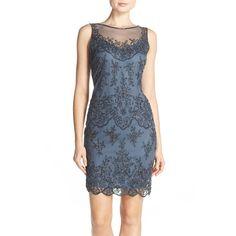 Pisarro Nights Beaded Mesh Sheath Dress ($172) ❤ liked on Polyvore featuring dresses, slate, mesh dress, slate blue dress, scalloped dress, blue dress and sheer mesh dress