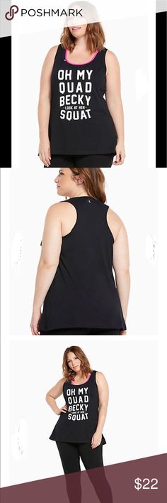 """Torrid Active Tank """"Oh My Quad"""" Brand new with tags. Torrid size 2 which is size 18/20. The pink in the picture is another tank top or sports bra worn underneath. The shirt is all black with white writing. It does not contain pink. torrid Tops Tank Tops"""