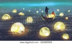 Zdjęcie night scenery of a man rowing a boat among many glowing moons floating on the sea, digital art style, illustration painting obraz seryjny, obrazy i fotografie seryjne Image Deco Spa, Meditation Musik, Music For Studying, Night Scenery, Romantic Music, Celtic Music, Fantasy Landscape, Relaxing Music, Piano Music