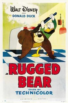 Rugged Bear Donald Duck cartoon 1953 Humphrey the Bear Disney Cartoon short movie poster